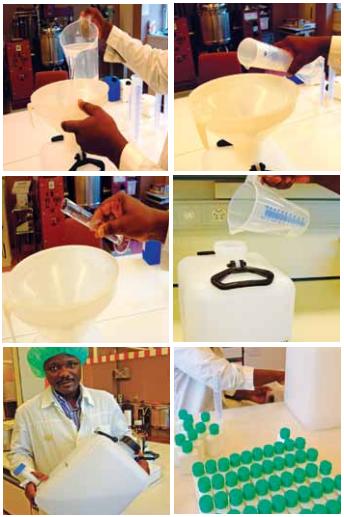 Postup výroby desinfekce na ruce podle Světové zdravotnícké organizace.