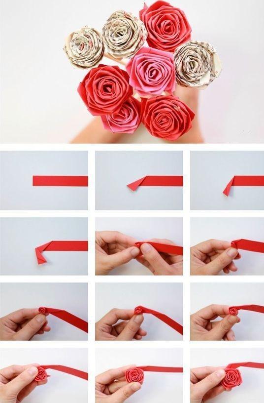 Výroba papírových růžiček krok po kroku