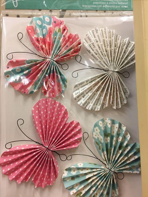 Výrobky z papíru - motýlci s drátky