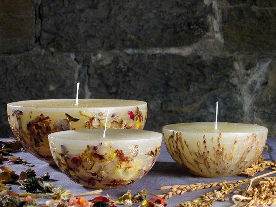 Svíčky se sušenými bylinkami