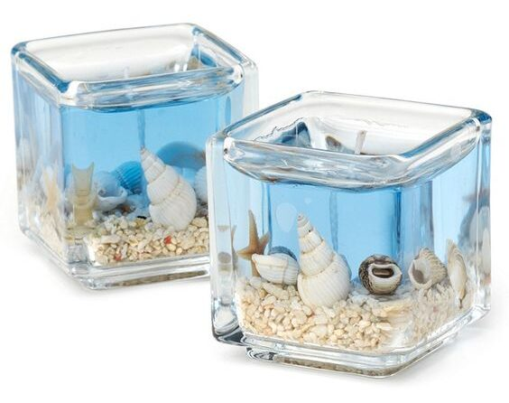Modré gelové svíčky s mořskými motivy